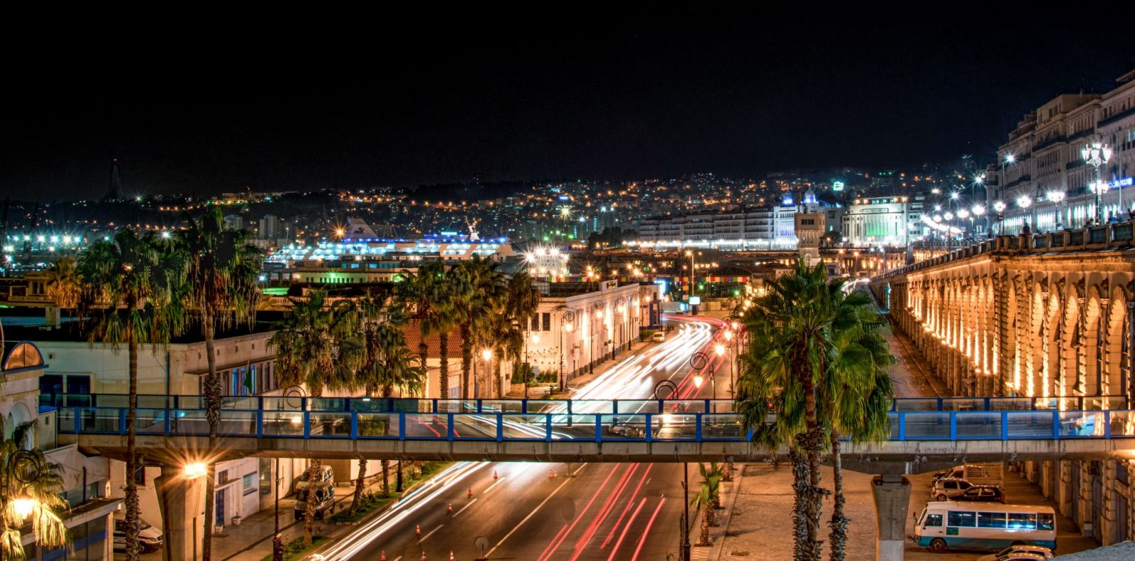 Photo of Algiers at night. USTDA-funded technical assistance will help Algeria modernize its electricity grid and facilitate the country's transition toward renewable energy.