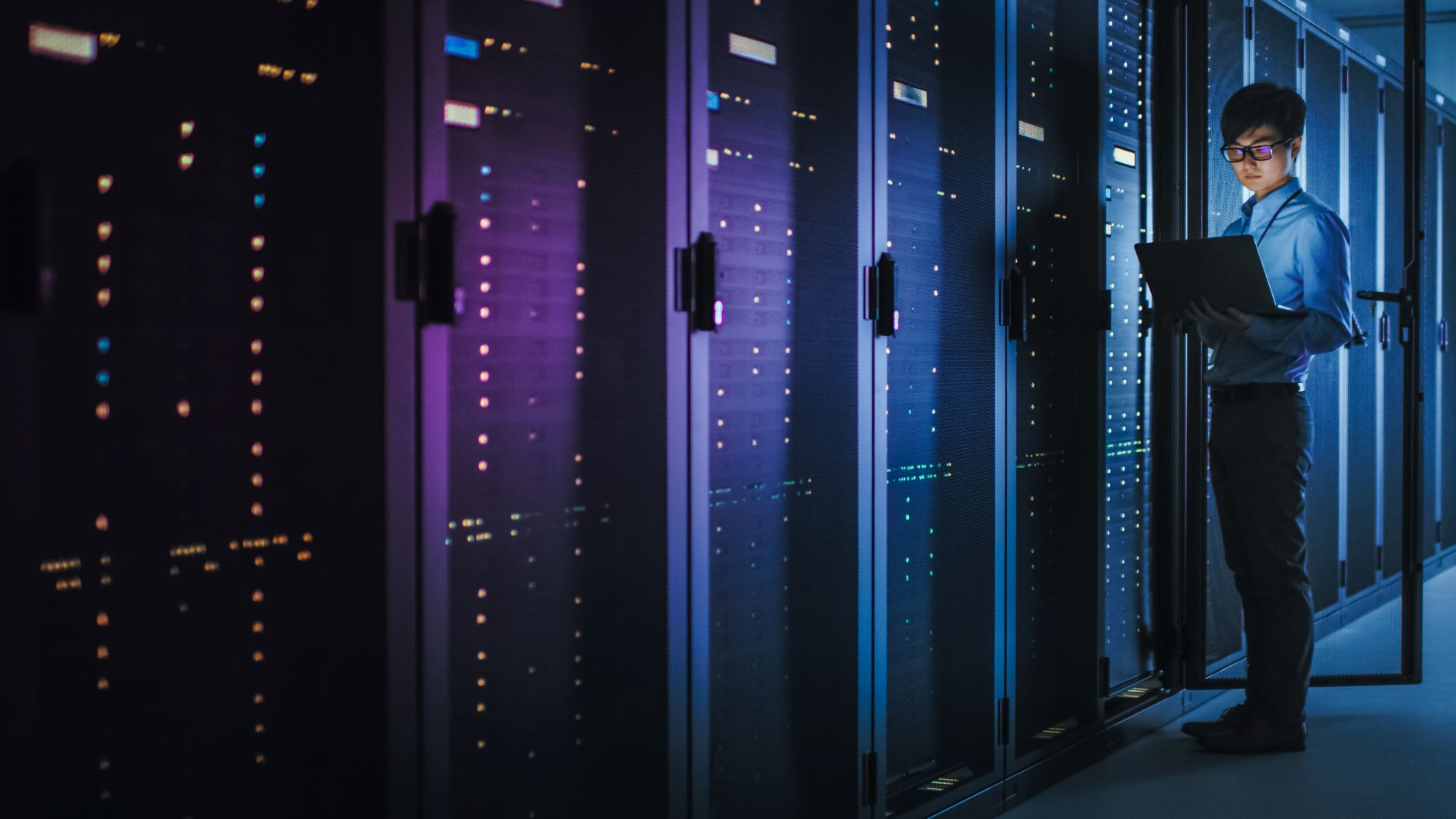 Data center image with person