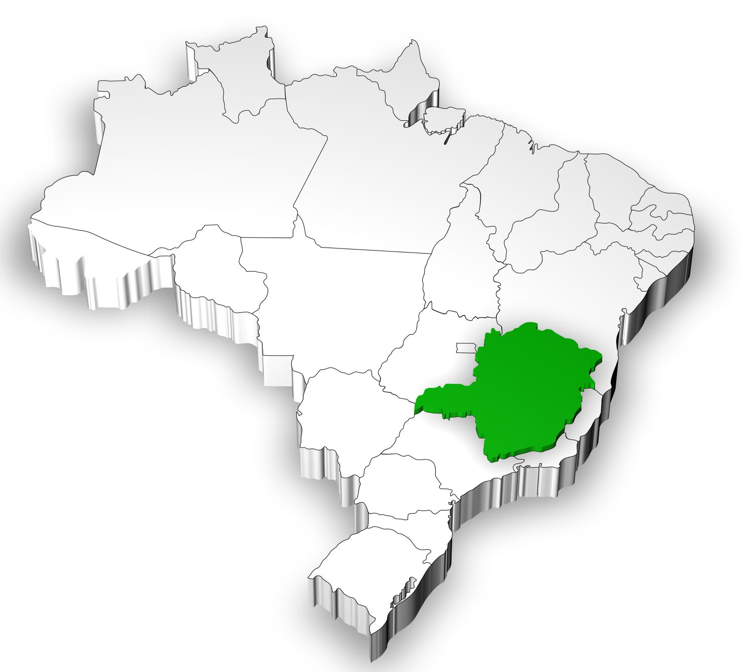 Map of Brazil with the state of Minas Gerais highlighted in green