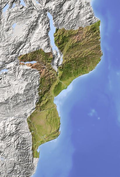 Topographical map of Mozambique