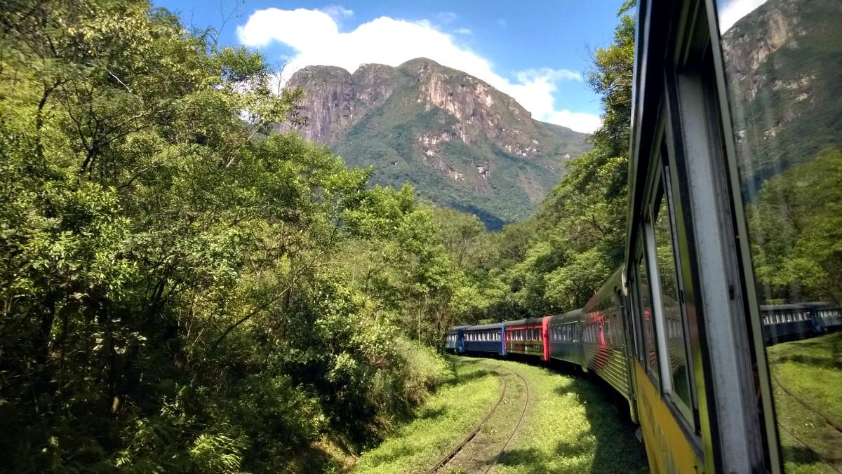 train in mountainous Brazil