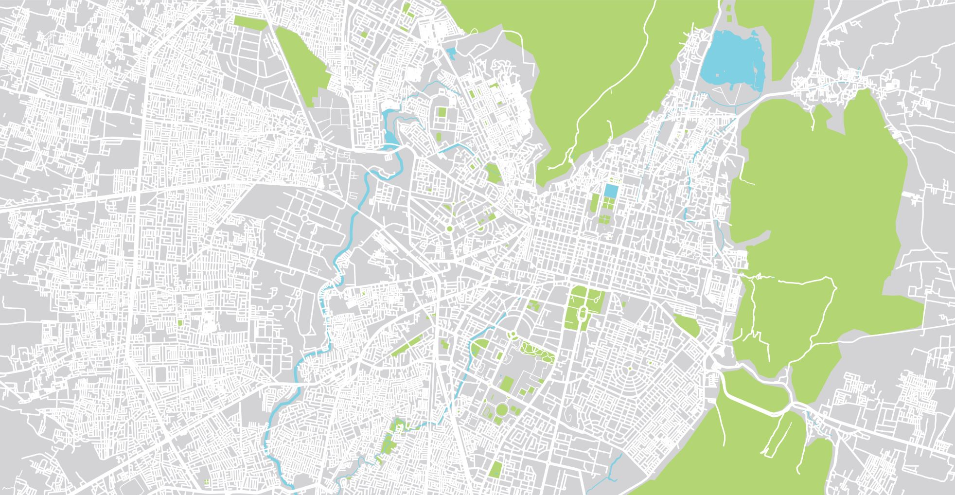 Urban vector city map of Jaipur, India