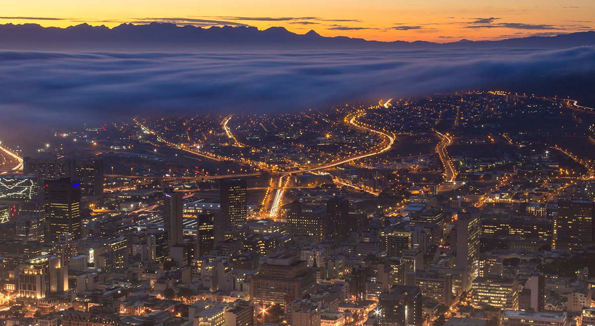 An image of Cape Town, South Africa at night