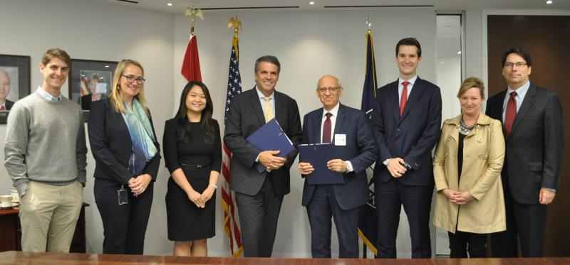 Left to right: Andrew Gatti, Assistant General Counsel, U.S. Trade and Development Agency; Sarah Fandell, General Counsel, U.S. Trade and Development Agency; Lulu Liu, Assistant General Counsel, U.S. Trade and Development Agency; Thomas Hardy, Director, U.S. Trade and Development Agency; Ahmed Bahgat, Chairman, Benchmark Power International; Jeffrey Phillips, Middle East, North Africa, Europe, Asia, U.S. Trade and Development Agency; Pamela Venzke, Managing Director, Global Government Affairs & Policy, GE