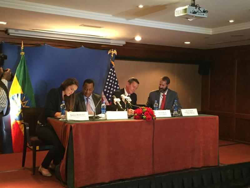 (left to right)  Katrien Hinderdael of USTDA; Dr. Frehiwot Woldehanna, State Minister of Water, Irrigation and Electricity; Darrell Boyd, Chief Executive Officer, TMGO; and Troy Fitrell, Chargé d'Affairs for the U.S. Embassy in Addis Ababa