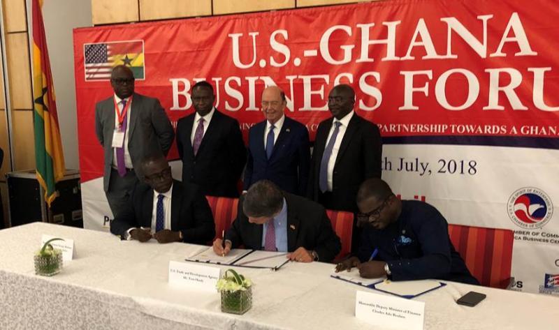 Deputy Energy Minister William Owuraku Aidoo, USTDA's Director, Congressional and Public Affairs, Thomas R. Hardy, and Deputy Minister of Finance Charles Adu Boahen