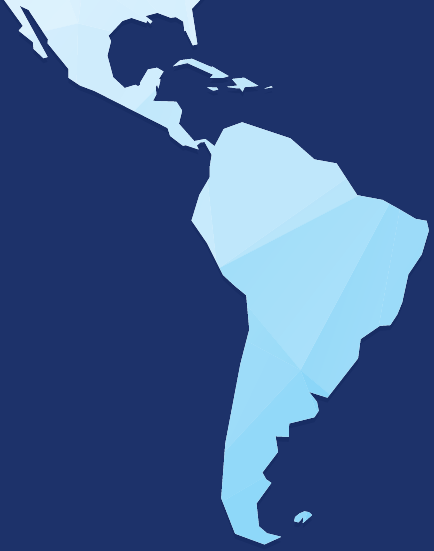A stylized map graphic representing USTDA's Latin America and the Caribbean Region.